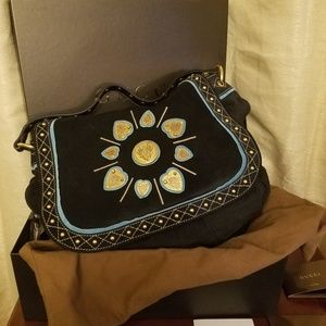 Gucci Irina Babouska Black Suede Handbag